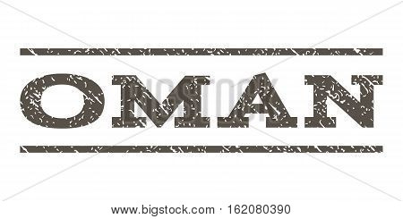 Oman watermark stamp. Text caption between horizontal parallel lines with grunge design style. Rubber seal stamp with dust texture. Vector grey color ink imprint on a white background.