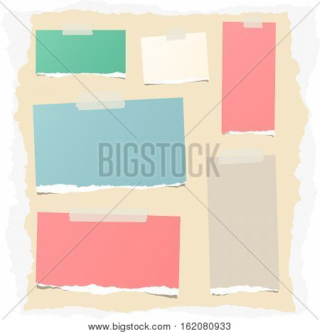Pieces of different size colorful note, notebook, copybook sheets stuck with sticky tape on ripped paper.