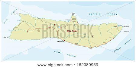 street map of the Hawaiian island molokai