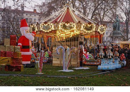 Lyon, France, December 17, 2016 : The Christmas Market Of Lyon, A Village Of More Than 130 Chalets O