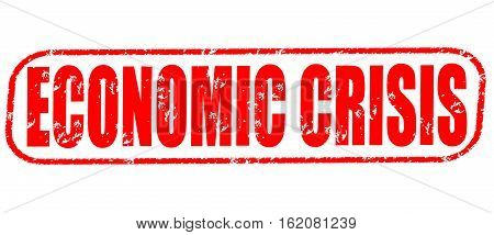 Economic crisis on the white background, red illustration