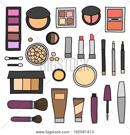 Hand drawn collection of decorative cosmetics. Different beauty makeup products including powder, concealer, blushes, mascara, lipstick, foundation, eye shadows, brushes isolated on white background.