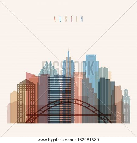 Transparent style Austin state Texas skyline detailed silhouette. Trendy vector illustration.