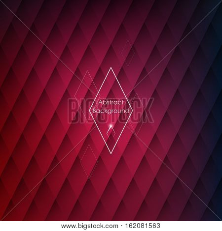 Abstract rhombic red background for your designs. Elegant geometric wallpaper.