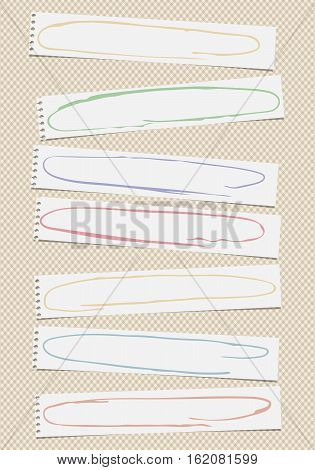Ripped white notebook, note, copybook horizontal paper sheets with colorful doodle frames, stuck on squared background.