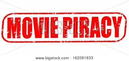 movie piracy on the white background, red illustration