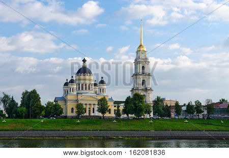 Saviour Transfiguration Cathedral and belfry view from river Volga Rybinsk Russia