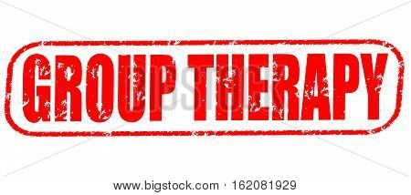 Group therapy on the white background, red illustration