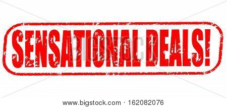 Sensational deals on the white background, red illustration