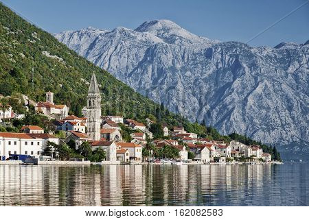 perast traditional balkan village mountain landscape by kotor bay in montenegro
