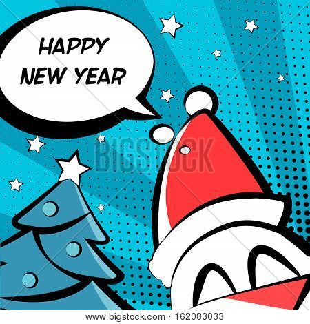 Happy New Year illustration with in a Santa hat tree and text cloud. Comics style. Vector card.