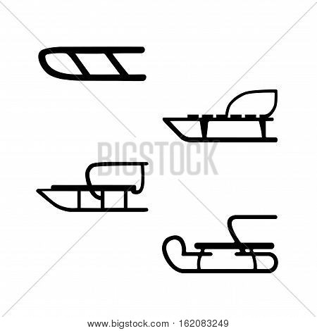 Winter. Sled. Hand drawn vector set of four sleds