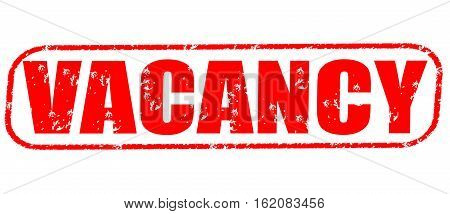 Vacancy on the white background, red illustration