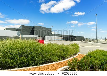 Modern exterior at perth airport area. Perth Airport is a domestic and international airport serving Perth the capital and largest city of Western Australia.