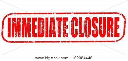 Immediate closure on the white background, red illustration