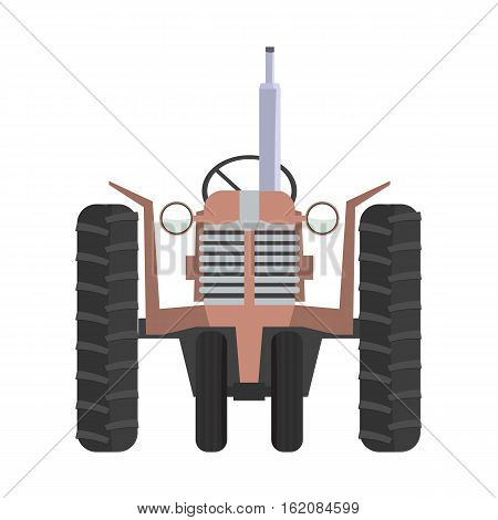 Agricultural tractor icon. Classic tractor front view with flat color style design.