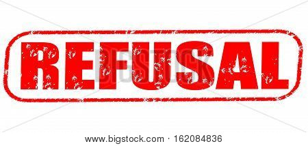 Refusal on the white background, red illustration