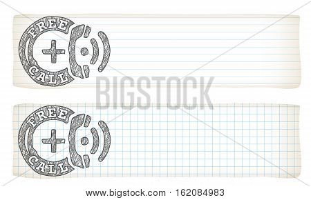 Two banners with lined paper graph paper and hand writen free call icon