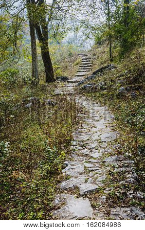 The ancient stone path in the mountain