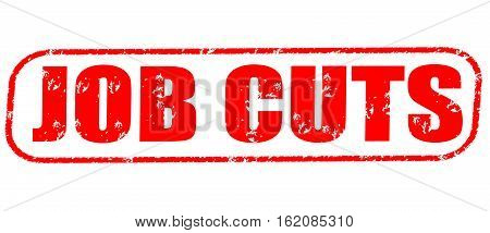Job cuts on the white background, red illustration