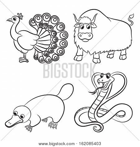Cute cartoon animals outline collection. Vector illustration