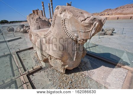 Horse sculpture from column of broken palace in 6th century BC city Persepolis, Iran. UNESCO declared citadel of Persepolis a World Heritage Site in 1979