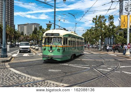San Francisco,California,USA - July 28, 2014 : Historic streetcar at Embarcadero