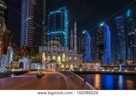 Looking across the Dubai marina in the United Arab Emirates