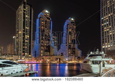 Looking across the Dubai marina in the UAE
