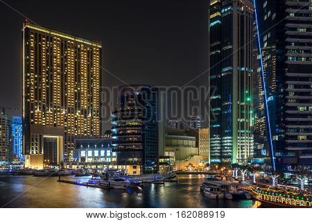 Dubai marina in the United Arab Emirates