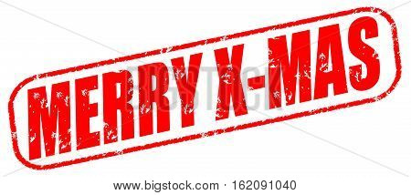 Merry x-mas on the white background, red illustration