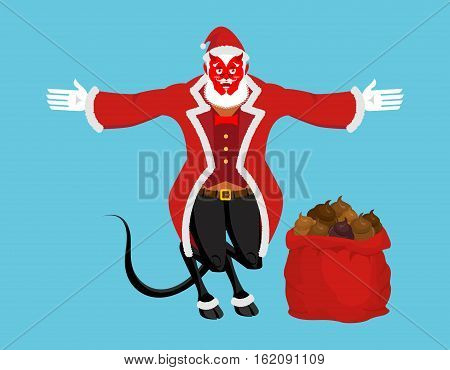 krampus satan santa claus red demon with horns christmas monster for bad children and - Santa Claus Red