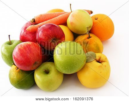 Newest and most beautiful winter fruit, apple, quince, orange, carrot, nar pictures