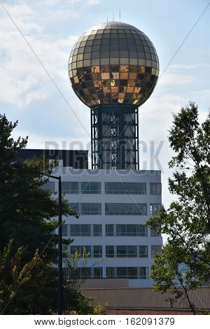 KNOXVILLE, TN - OCT 4: Sunsphere Tower in Knoxville, Tennessee, as seen on Oct 4, 2016. It is a 266 ft high hexagonal steel truss structure, topped with a 75 ft gold-colored glass sphere that served as the symbol of the 1982 Worlds Fair.