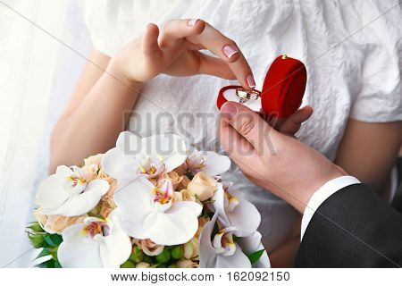 Bride and groom's hands with wedding rings offer of marriage