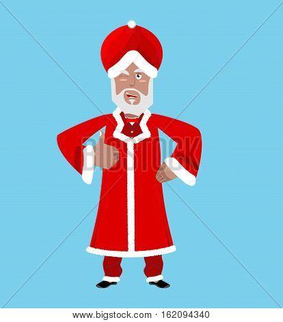 Santa India. Christmas Indian Claus. Red Turban Fur. East Grandpa New Year