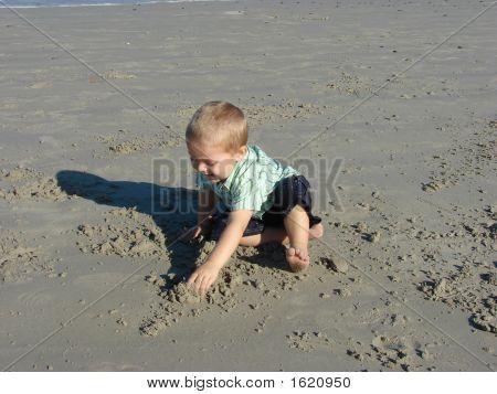 Young Boy Digging