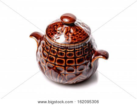 Clay pot isolated on white background. Ceramic pot for cooking.