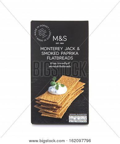 SWINDON UK - DECEMBER 4 2016:Marks & Spencer Monterey Jack and Smokeked Paprika Flatbreads on a white background