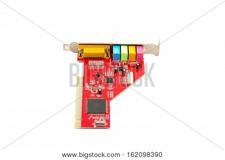 Sound card for computer isolated on white background