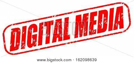 Digital media on the white background, red illustration