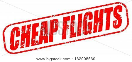 Cheap flights on the white background, red illustration