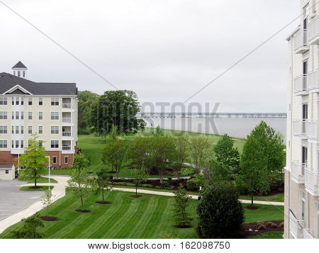 Cambridge Maryland USA - May 4 2016: Bank of Chesapeake Bay.