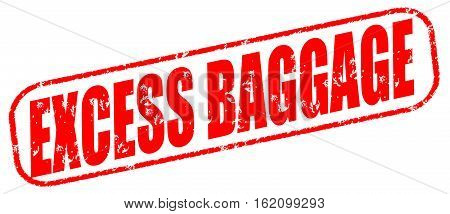 Excess baggage on the white background, red illustration