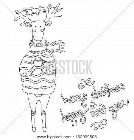 Christmas deer. Merry Christmas and happy New Year postcard with dressy deer. Holiday greetings. Festive reindeer