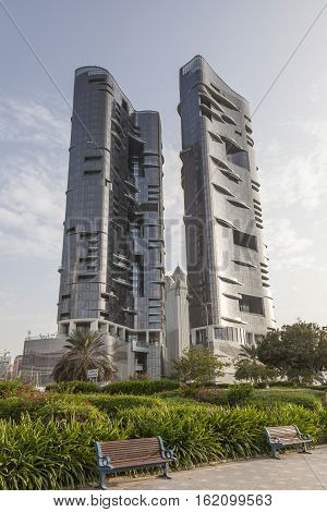 ABU DHABI UAE - 25 2016: The Saraya Towers - two luxury residential buildings at the corniche of Abu Dhabi United Arab Emirates