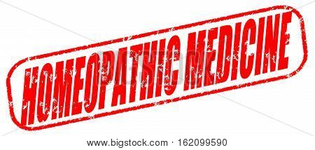 Homeopathic medicine on the white background, red illustration