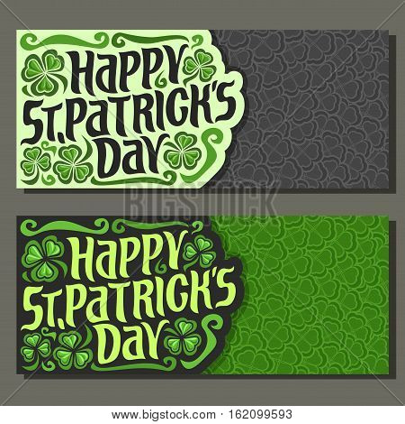 Vector abstract Banner for St Patrick's Day on Shamrock gray background, greeting Clover layout card for text, clover decor symbol saint patrick day on shamrock leaf graphic pattern trefoil foliage.