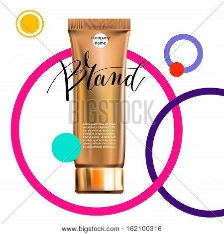 toner contained in plastic tube with gold lid and place for your brand name text on circle modern pattern for ads or magazine banner of cosmetics, cream, ointment, lotion, 3D vector illustration eps 10