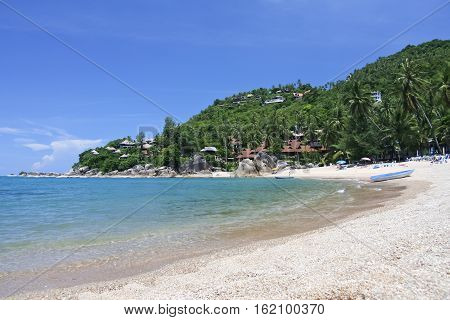 tropical palm trees around coral cove beach near lamai on ko samui island in the guld of thailand